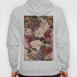 Vintage & Shabby Chic Pink Dark Floral Roses Lilacs Flowers Watercolor Pattern Hoody