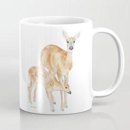 Mother and Baby Deer Watercolor Coffee Mug