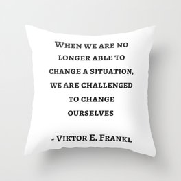 Stoic Wisdom Quotes - Viktor Frankl Throw Pillow