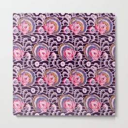 African Wax Print Flowers Purple and Pink Metal Print