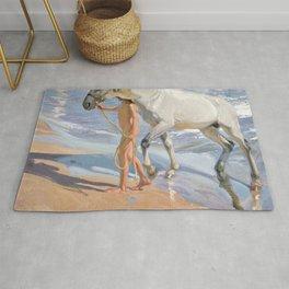 The Horse's Bath by Joaquin Sorolla Rug
