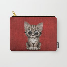Cute Brown Tabby Kitten Wearing Eye Glasses on Red Carry-All Pouch