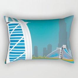 Dubai, United Arab Emirates - Skyline Illustration by Loose Petals Rectangular Pillow