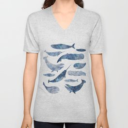 Whales, whale art, whale painting, whale wall art, watercolour whales, ocean Unisex V-Neck