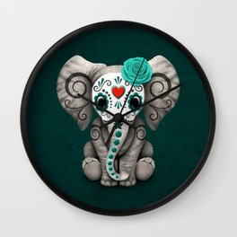 Teal Blue Day of the Dead Sugar Skull Baby Elephant Wall Clock