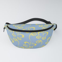 Yellow Pastel Blue Butterfly and Scroll Pattern 2021 Color Of The Year Illuminating & Placid Blue Fanny Pack