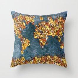 World Music Grunge Throw Pillow