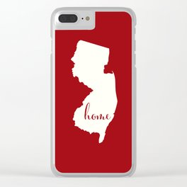 New Jersey is Home - White on Red Clear iPhone Case