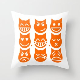 The 9 Lives of the Emoji Cat Throw Pillow