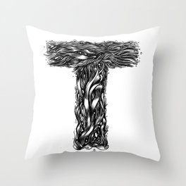 The Illustrated T Throw Pillow