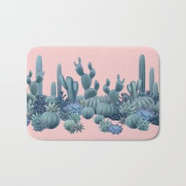 Milagritos Cacti on Rose Quartz Background Bath Mat