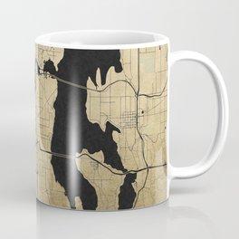 Seattle Black and Gold Street Map Coffee Mug