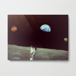Venus-Pluto-Earth Conjunction observed from the Moon Metal Print