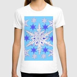 BABY BLUE SNOW CRYSTALS BLUE WINTER ART DESIGN T-shirt