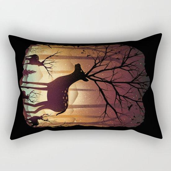 Into Deer Woods Rectangular Pillow