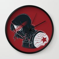 the winter soldier Wall Clocks featuring Winter Soldier  by Charleighkat