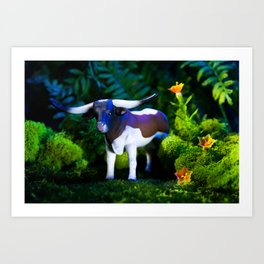 A Steer Cattle Cow at Night Art Print