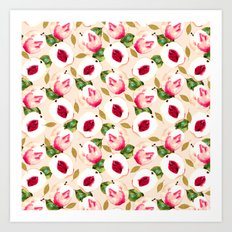 Pink Peach Pattern and gold Art Print