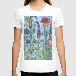 Watercolor Garden Flower Botanical Wildflowers Lady Slipper Orchid T-shirt