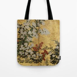 White Red Chrysanthemums Floral Japanese Gold Screen Tote Bag