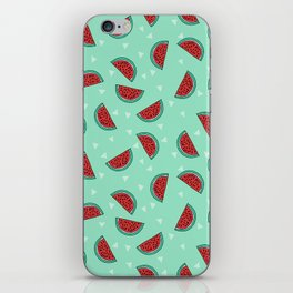 Watermelon triangles mint minimal summer spring fruit pattern print by andrea lauren iPhone Skin