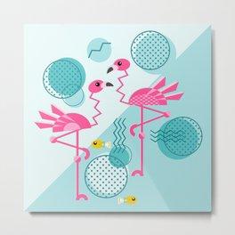 1980's Memphis Style Pink Flamingos Metal Print