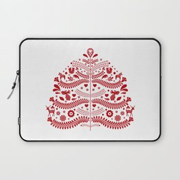 Red Scandinavian Folk Art Christmas Tree Laptop Sleeve