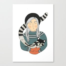 Girl and Raccoon. Canvas Print