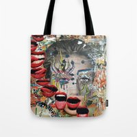 lip Tote Bags featuring Lip Service by Katy Hirschfeld