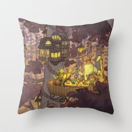 Treehouse Dinner With Animal Friends Throw Pillow