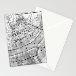 Vintage Map of Cincinnati Ohio (1838) BW Stationery Cards