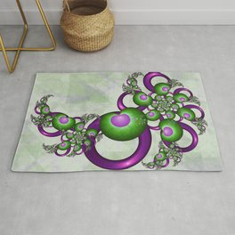 Young Love, Fractal Art With Green Pink Hearts Rug