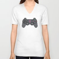 video games V-neck T-shirts featuring Support Women in Video Games by Inappropriately Adorable