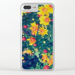 Vibrant floral blossoming in yellow, green, blue and red Clear iPhone Case