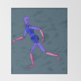 Wooden Running Man Throw Blanket
