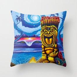 Tiki Moon Throw Pillow