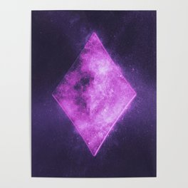 Diamond symbol. Playing card. Abstract night sky background Poster