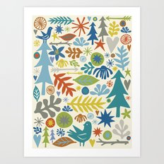folk forest Art Print