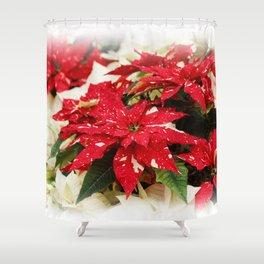 Shimmer Surprise Poinsettias Shower Curtain