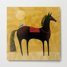 BLACK HORSE BLUE BIRD Metal Print