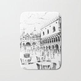 Sketch of San Marco Square in Venice Bath Mat