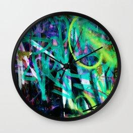 graffiti blue Wall Clock