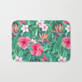Classic Tropical Garden with Pink Flowers Bath Mat
