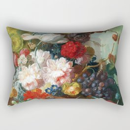 Fruit and Flowers in a Terracotta Vase by Jan van Os Rectangular Pillow