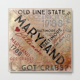 MD to the Maryland Metal Print