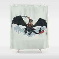 skyrim Shower Curtains featuring Riders of Skyrim  by Abby Trantina