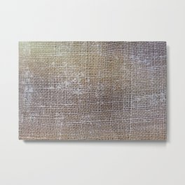 textured jute fabric for background and texture Metal Print