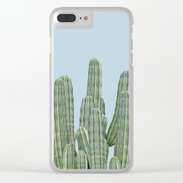 Cacti on Blue Clear iPhone Case