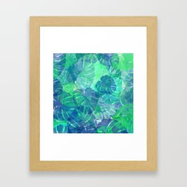 monstera leaves tropical 2 Framed Art Print