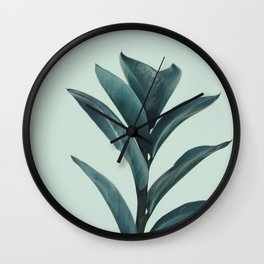 Teal Mint Plant Wall Clock